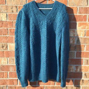 Men's Sweater V Neck Handmade XL  Blue Knit NEW
